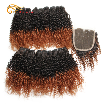 Brazilian Curly Hair Bundles With Closure Human 6 Jerry Curl Ombre