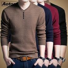 Новинка, пуловер, мужской свитер, Повседневный, v-образный вырез, мужской, осенний, облегающий, длинный рукав, рубашка, свитера, мужские, вязанные, кашемир, шерсть, Homme