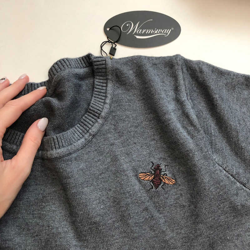 Venda Da Promoção! Outono inverno abelha bordado suéteres plus size 2xl pullovers feminino oversized malha tops jumper feminino C-153