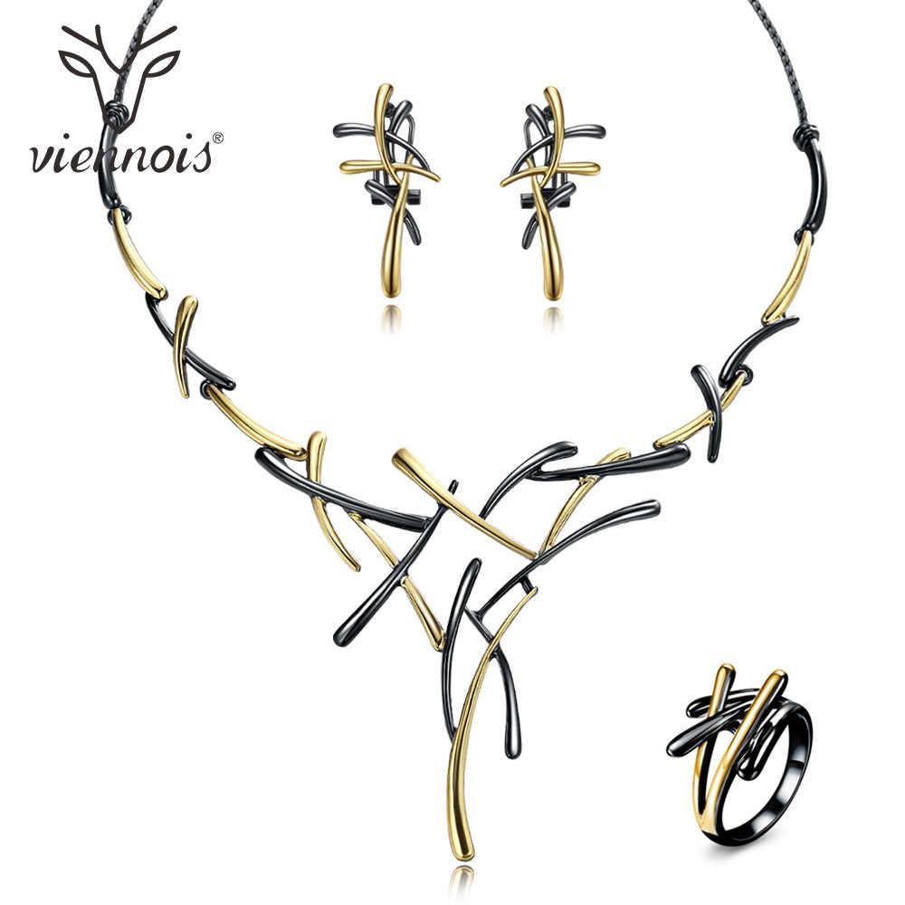 Viennois Kalung Anting-Anting Perhiasan Set untuk Wanita Pesta Pernikahan atau Prom Rose Emas & Gun Warna 2019