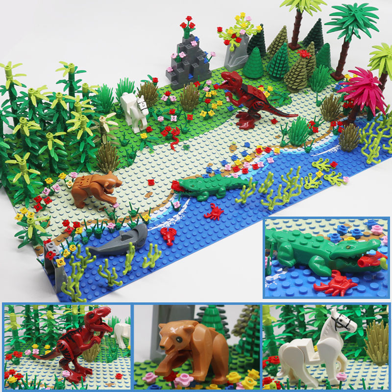 vida selvagem paraiso animal bloco de construcao do mundo conjuntos grama bush flor arvore plantas com