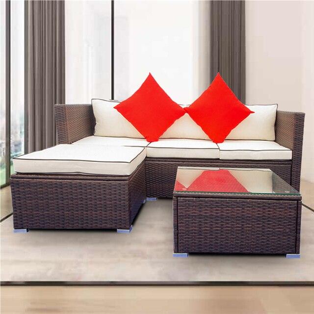 3 Piece Patio  Wicker Sectional Sofa Set  5