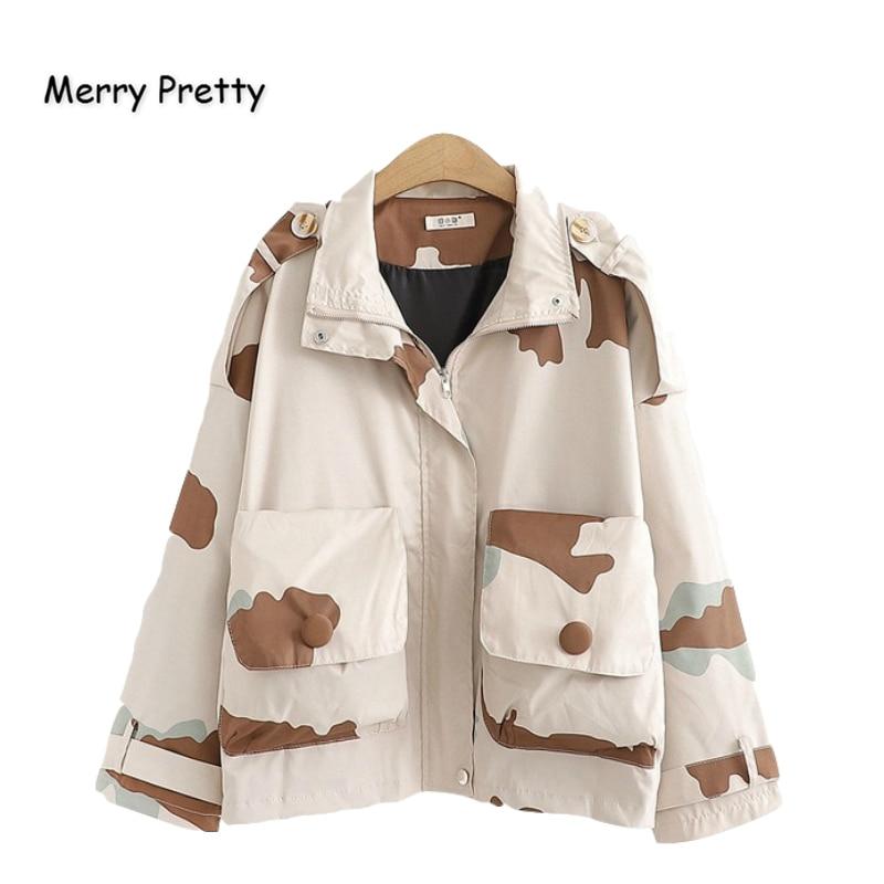 MERRY PRETTY Denim Women'S Cartoon Print Camouflage   Basic     Jackets   2019 Winter Long Sleeve Turndown Collar Pockets Jean   Jacket
