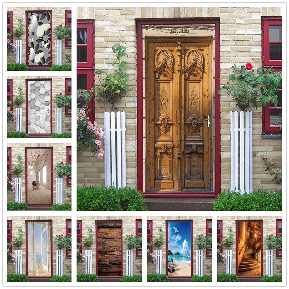 2PCS/SET 3D Vinyl Wood Wallpaper For Door Self-adhesive DIY Waterproof Poster Home Design Wall Art Mural Decals Stickers Porte