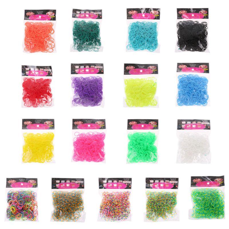 600PCS Rainbow Mega Refill Rubber Bands DIY Bracelets Bands Party Favor Art Crafts For Girls