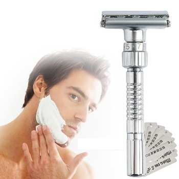Safety Razor Shaver Adjustable Double Edge Shaving Blades Zinc Alloy Chrome Hot New Razor Father's Day Gift for Dad & Boy Friend hot 10pcs zinc alloy plating silver double star