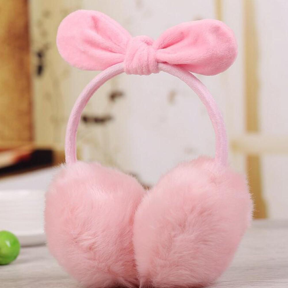 MISSKY Lady Warm Earmuff Female Imitation Rabbit Hair Adult Cute Bowknot Christmas Gifts In Winter Autumn
