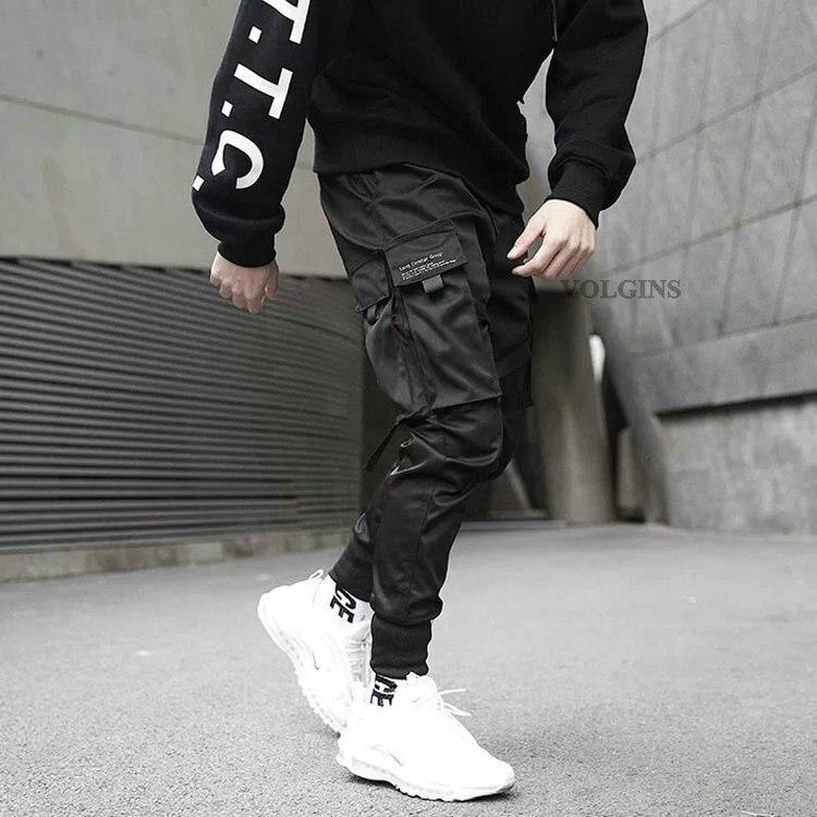 Men Cargo Pants Daily Ribbons Harem Joggers Harajuku Sweatpants Hip Hop Trousers