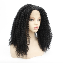 Black Women Synthetic Lace Wigs Kinky Curly Lace Front Wigs For Black Women Glueless Heat Resistant Baby Hair Lace Wig 1b# Hair  afro kinky curly free part baby hair glueless lace front wig baby hair 12 26inch full lace wig cheap wigs for african women