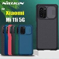 NILLKIN-funda deslizante para Xiaomi Mi 11i 5G MI11i, protector de lente de protección de cámara, fibra texturizada esmerilada a prueba de golpes
