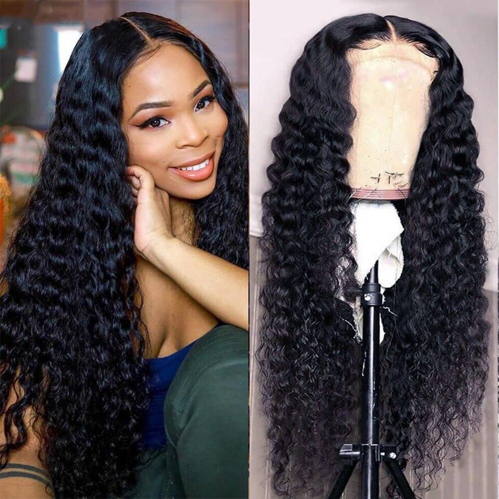 Abijale 13x4 perucas encaracoladas do cabelo humano da parte dianteira do laço nenhuma máquina encaracolada do laço feita perucas do cabelo humano da água profunda com cabelo do bebê remy
