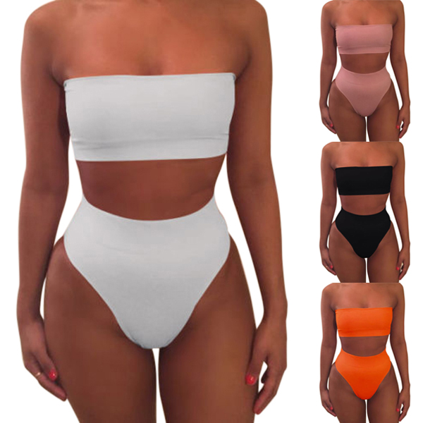 Hot 1 Set Sexy High Waisted Strapless Boob Tube Top Bikini Set Swimsuit Solid Color Swimwear Brazilian Beachwear  MVI-ing