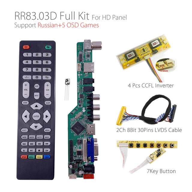 5 OSD משחקים RR83.03D אוניברסלי LCD טלוויזיה בקר נהג לוח הטלוויזיה/AV/מחשב/HDMI/USB/משחק + 7KEY + 2ch 8bit 30 סיכות lvds + 4 מנורת ccfl חזרה
