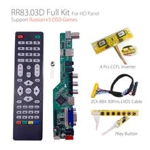5 OSD oyunları RR83.03D evrensel LCD TV denetleyici sürücü panosu TV/AV/PC/HDMI/USB/oyun + 7KEY + 2ch 8bit 30pins lvds + 4 lamba ccfl arka