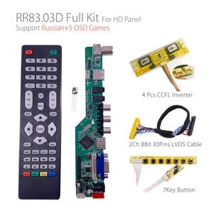 Image 1 - 5 Osd Games RR83.03D Universele Lcd Tv Controller Driver Board Tv/Av/Pc/Hdmi/Usb/game + 7KEY + 2ch 8bit 30Pins Lvds + 4 Lamp Ccfl Back