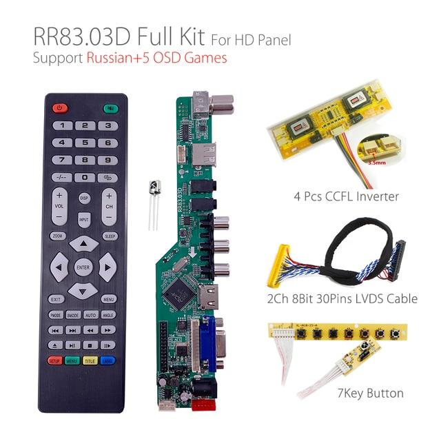 5 Osd Games RR83.03D Universele Lcd Tv Controller Driver Board Tv/Av/Pc/Hdmi/Usb/game + 7KEY + 2ch 8bit 30Pins Lvds + 4 Lamp Ccfl Back