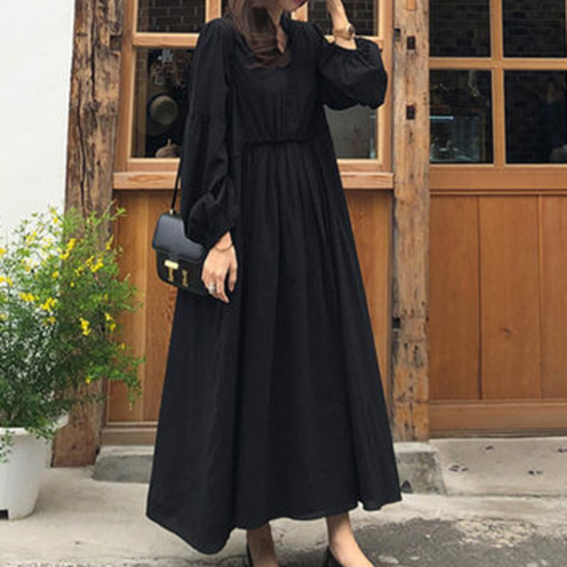 LANMREM 2020 Spring New Casual Fashion Temperament Women Loose Solid Color Elastic Waist Lantern Sleeve V-neck Dress TC658