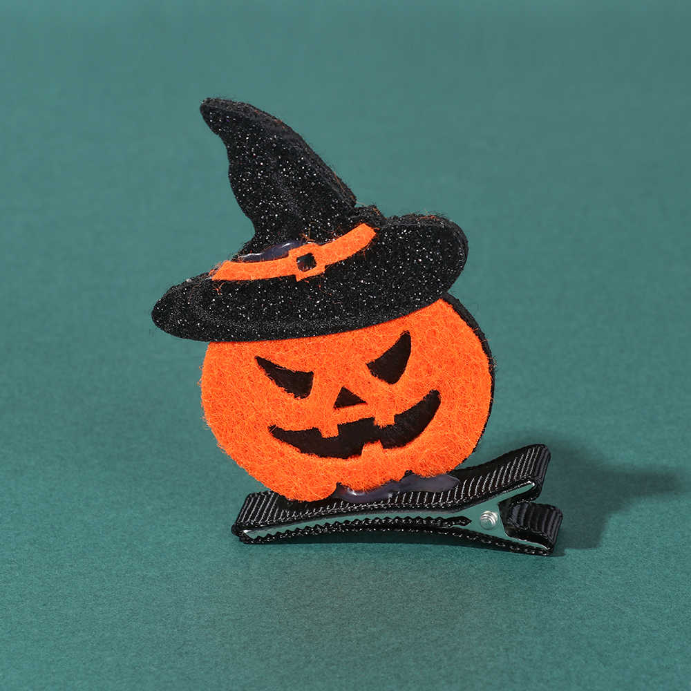1PC Gadis Halloween Pin Rambut Lucu Glitter Felt Hat Klip Rambut Hantu Labu Catwoman Pesta Festival Bulang 6 Style