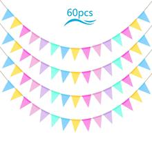 METABLE 60 Pcs Hessian Banner Multicolor Triangle Flag Garland Hanging Pennant for Wedding Birthday Party Graduation Decor Photo