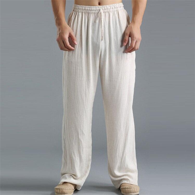 Jddton linho de algodão masculino calças cintura
