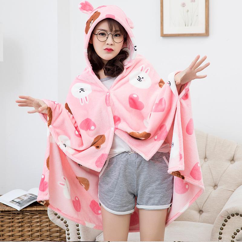 Winter Thick Comfy Hooded Cartoon Blanket Sweatshirt Soft Warm Throw TV Hoodie Blankets Fleece Blanket Adult for Sofa Beds Kids 6