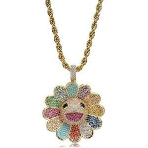 Image 4 - JINAO New Fashion Design MURAKAMI FLOWER Ice Out colorful pendant with 4mm tennis chain Hip Hop Rock Jewelry for man women gift