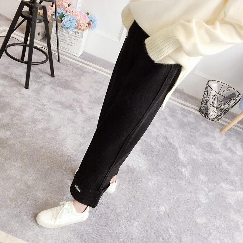[EWQ] 2019 Autumn New Korean Trend Winter Women High Waist Minimalist Solid Color Thickening Leisure Woolen Wide Leg Pants QK972 31