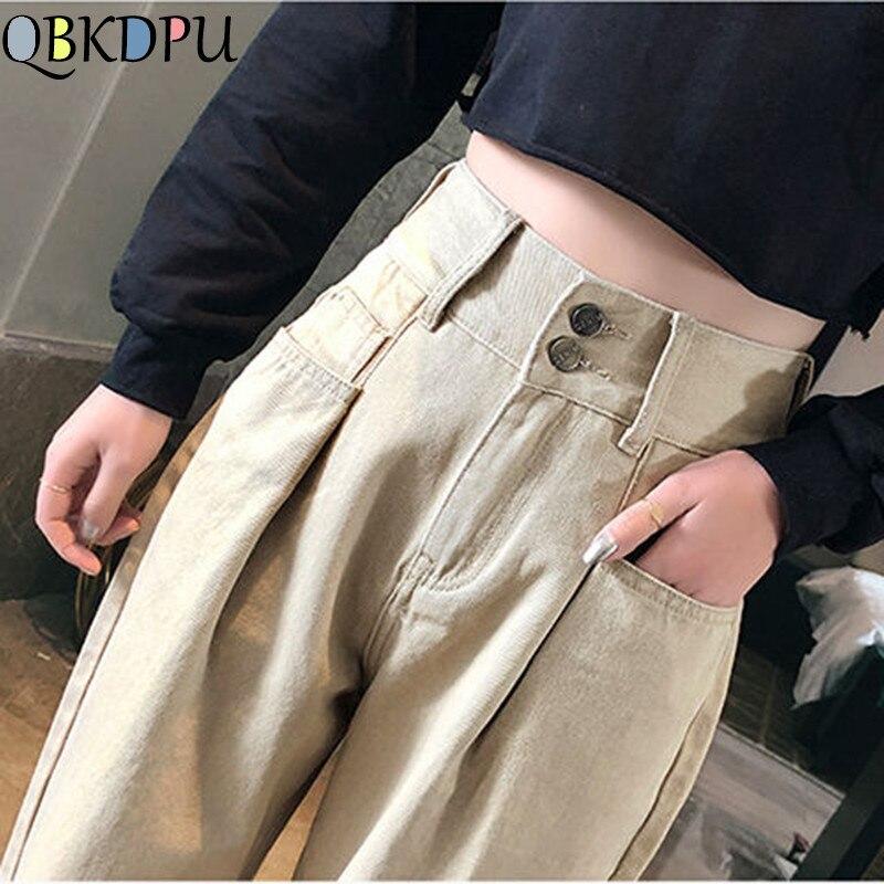 Plus Size Women Classic Jeans Mom Black White Blue Loose Casual Harlan Denim Pants Female College Wind Washing Boyfriend Jeans
