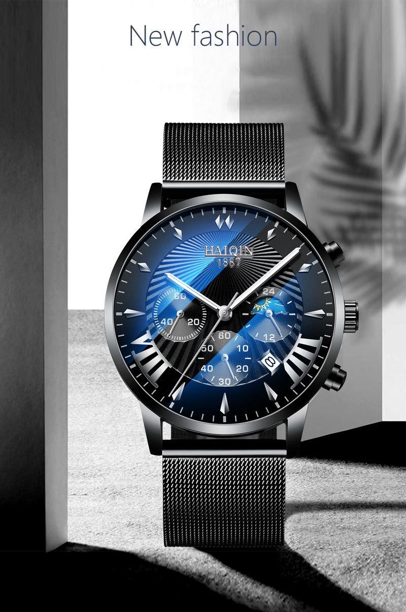 Hd909c5fac9564f05b03f7f775444c96at HAIQIN 2019 Fashion Mechanical mens watches top brand luxury sport wristwatch men waterproof Quartz mens clock Relogio Masculino