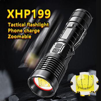 XHP199 XHP160 9 rdzeń LED latarka Usb akumulator latarka taktyczna latarka z regulacją wiązki światła XHP50 T6 latarka latarka przez 26650 18650 tanie i dobre opinie yunmai CN (pochodzenie) Odporna na wstrząsy Do samoobrony POWER BANK Ostre światło Wskaźnik laserowy Regulowany Z certyfikatem VDE