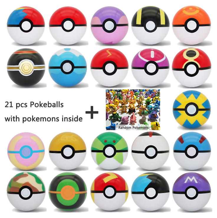 Action 21 Pcs/set Pokeballs With Pocket Monsters Inside 7cm Elf Ball Toys For Children Pockets Monster Pikachu In Pokeballs Toys
