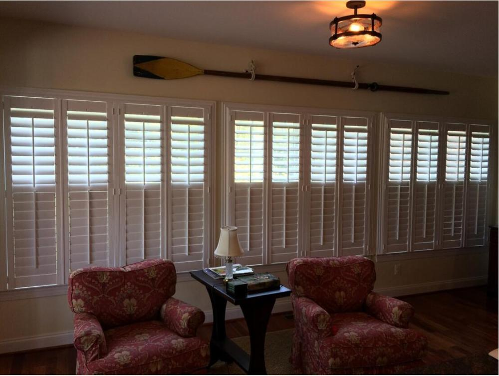 Custom Basswood Plantation Shutters Wooden Blinds Solid Wood Shutter Louvers PS258