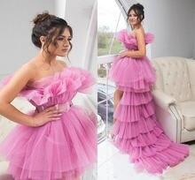 Ярко розовые высокие низкие пышные Выпускные платья с поясом