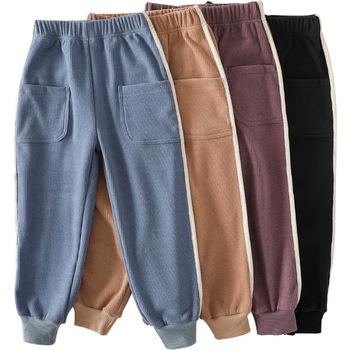 Spodnie dla dzieci wiosna jesień ciepłe dorywczo spodnie sportowe linia ciągła modna odzież dla chłopców dziewcząt miękkie kostiumy luźne z kieszenią tanie i dobre opinie COTTON CN (pochodzenie) Boot cut Unisex Kieszenie NONE Pełnej długości Pasuje prawda na wymiar weź swój normalny rozmiar