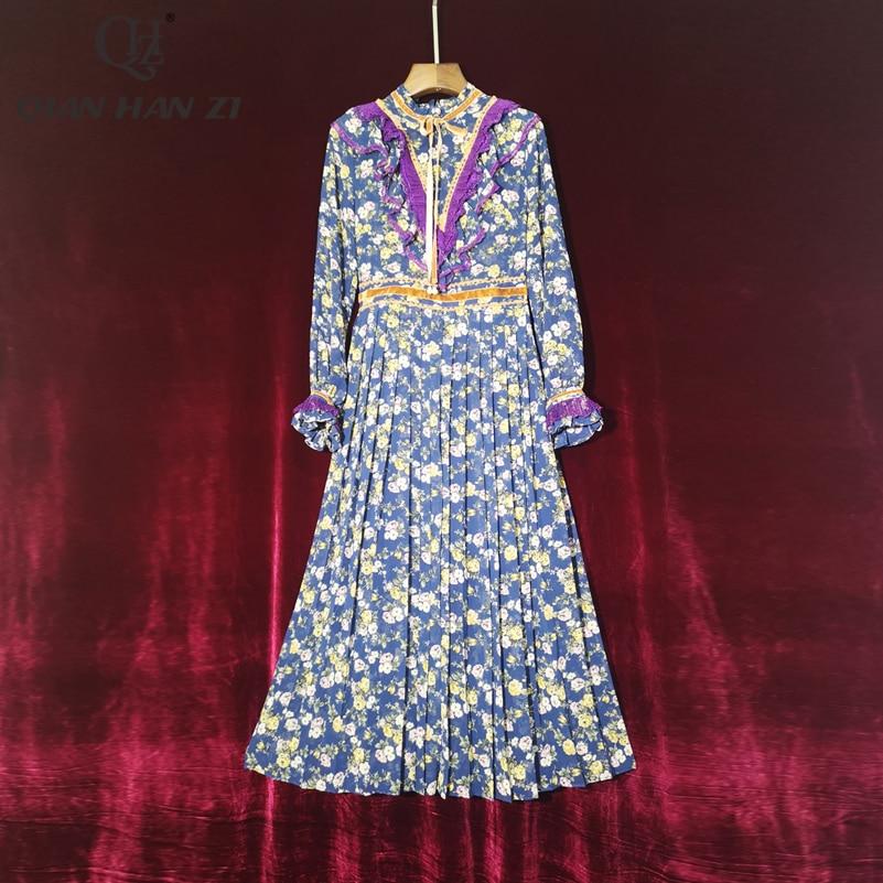 Qian Han Zi Designer Fashion Runway 2020 Women Dress Long-sleeved ruffled floral print vintage slim pleated Mid-Calf Dress
