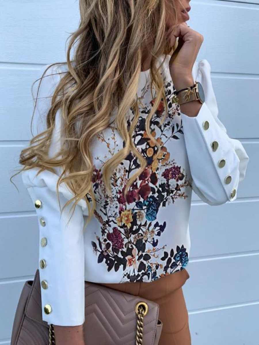 השיר הראשון נשים של מוצק מתכת אבזם פירוט מקרית למעלה חולצה 2019Nen סתיו ארוך שרוול שיפון הדפסת סוודר נשים של חולצה XL