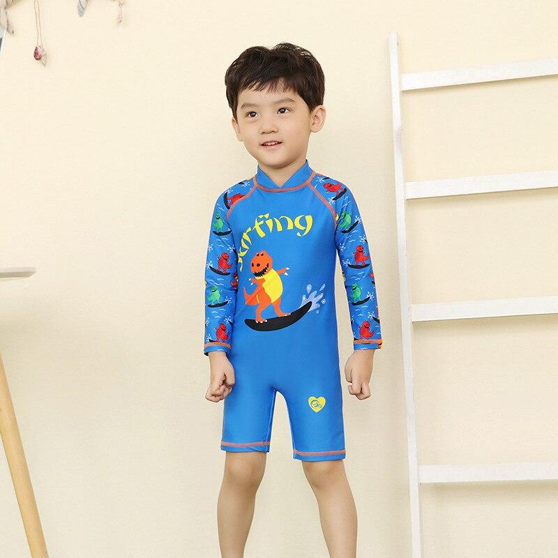 KID'S Swimwear BOY'S Children Long Sleeve Siamese Swimsuit Baby Boy Cute Hot Springs-Hooded