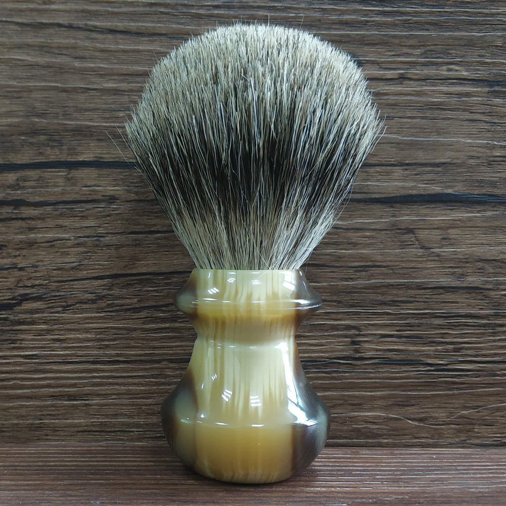 Wet Shaving Brush 24mm Pure Badger Hair Knot Imitation Horn Resin Handle Beard Brush For Men Barber Tools