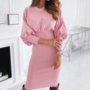 Fashion O-neck Long Sleeve Pencil Dress Women 2020 Autumn Winter Black Pink Bodycon Elegant Office Woman Dresses Robe Femme