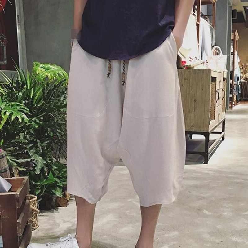 Chinese Stijl Effen Kleur Plus Size Zomer Heren Broek Tai Chi Aikido Hakama Mode Broek Voor Mannen Kung Fu Broek gratis Verzending