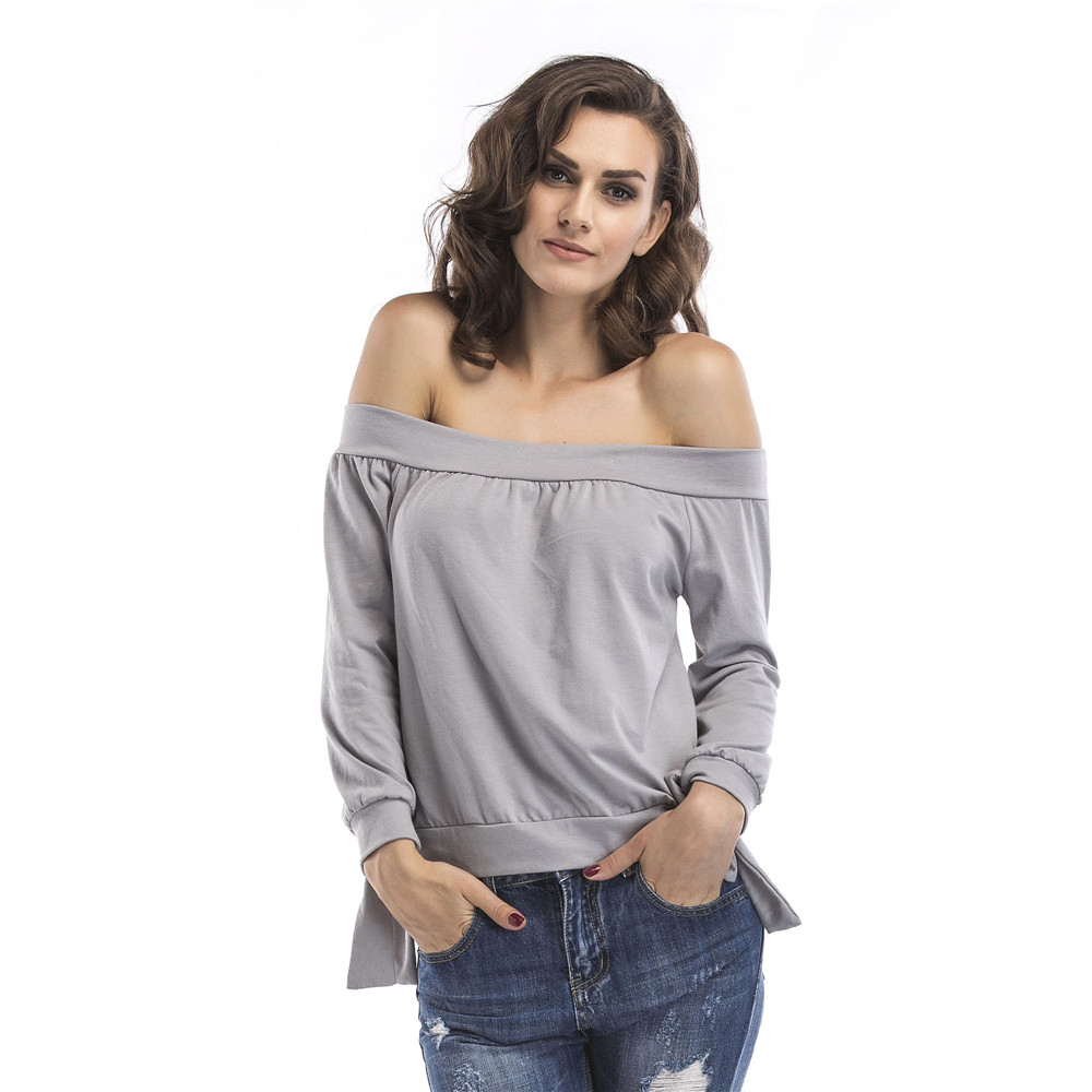 New 2019 Sexy Womens Off Shoulder Baggy Tops Blouse Ladies Oversize Sweater Jumper Cotton Plus Size Casual