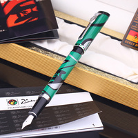 Pimio 927 Fashion Green and Silver Clip Fountain Pen 0.5mm Iridium Nib Metal Inking Pens for Writing Business Gift Free Shipping
