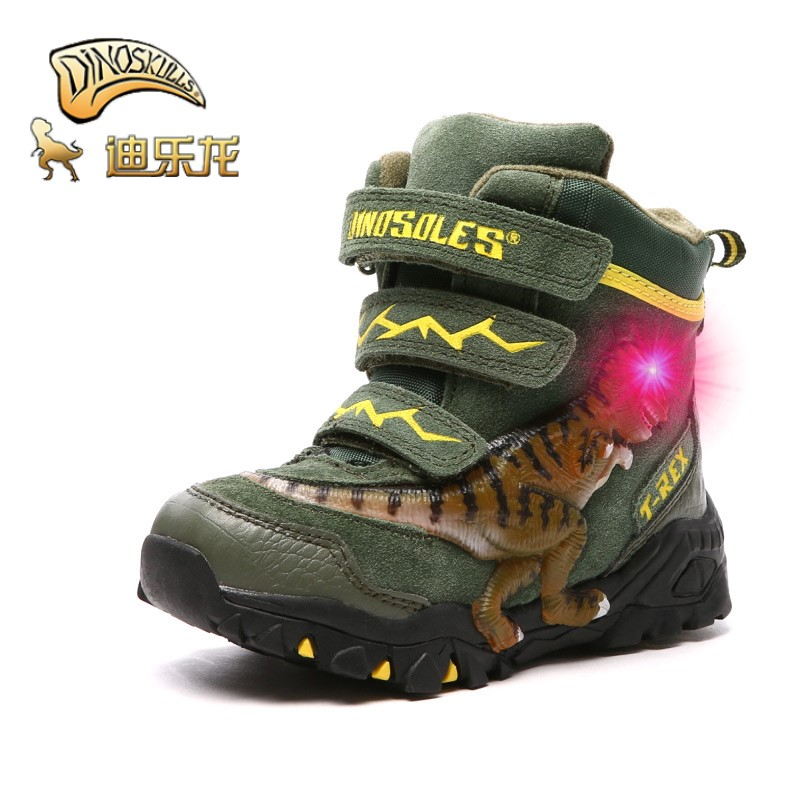Dinoskulls Boys Winter Boots Shoes Genuine Leather LED Glowing 2019 Kids 4-9T Warm Plush Fleece T-rex Children Snow Boots Shoes