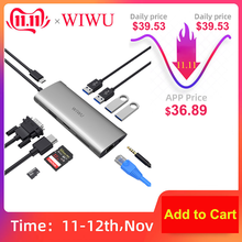 محور USB متعدد 3.0 WIWU 11 في 1 لمحول MacBook Pro USB حوض شحن نوع c Hub HDMI RJ45 VGA USB الفاصل 3.0 USB C Hub