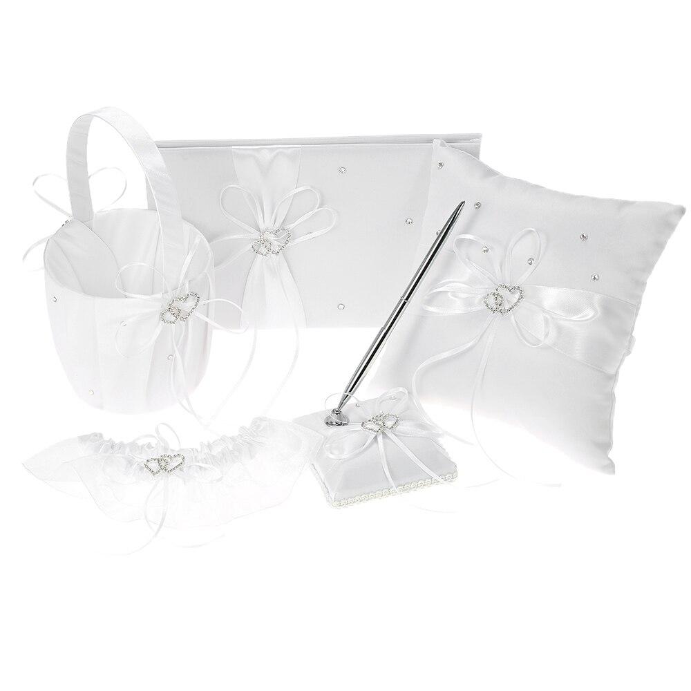 wedding : 5pcs set Wedding Supplies Double Heart Satin Flower Girl Basket Ring Bearer Pillow Guest Book Pen Holder Bride Garter Set Blue