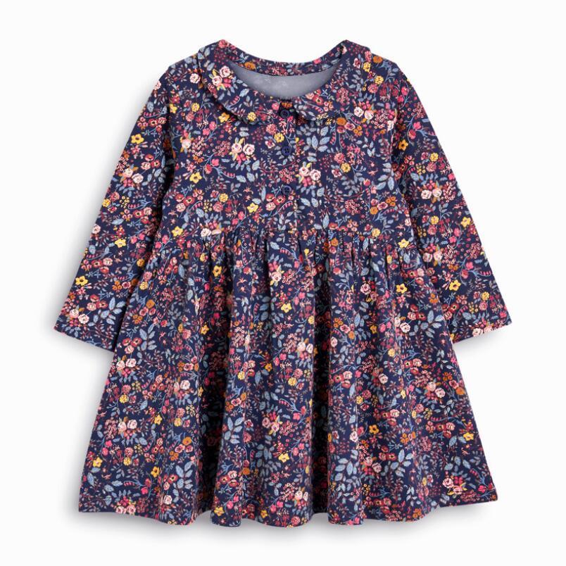 Little maven kids girls fashion brand autumn children's dress baby girls clothes Cotton floral print toddler girl dresses S0845 4