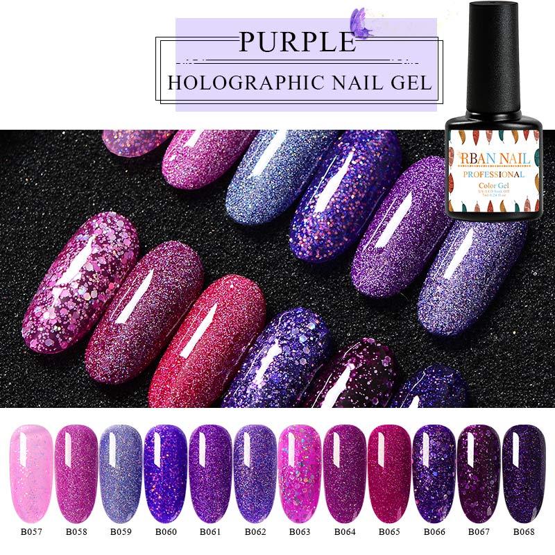RBAN NAIL UV Gel Nail Polish Purple Color Set Glitter Sequins Soak Off UV Gel Varnish Color Nail Gel Shiny DIY Nail Art Lacquer