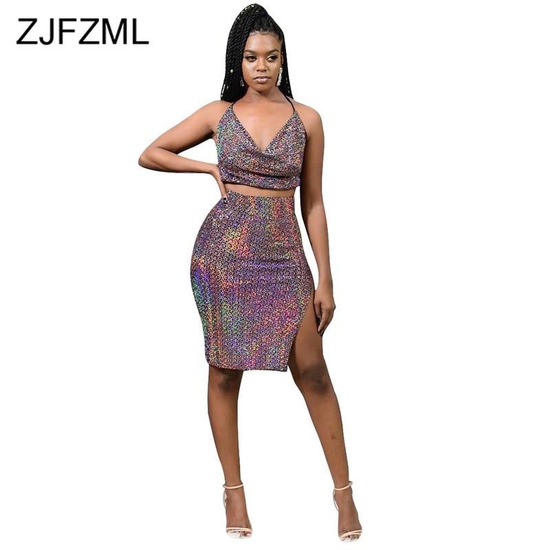 Sexy Glitter 2 Piece Skirt Set Women Halter Backless Lace Up Crop Tops + High Waist Side Slit Bodycon Midi Skirts Club Sweatsuit