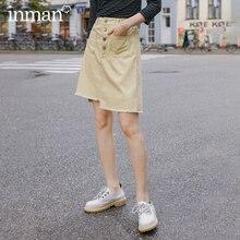 INMAN, весна 2020, Новое поступление, художественная юбка для похудения с завышенной талией и асимметричным нижним подолом, передним карманом
