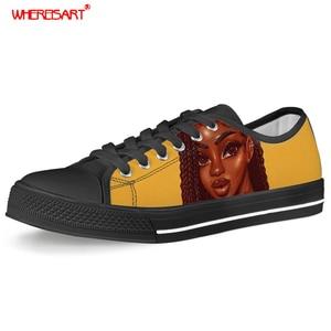 WHEREISART африканская красавица, черные туфли с принтом меланин поппин для девушек, женские кроссовки, Женская парусиновая обувь для подростко...
